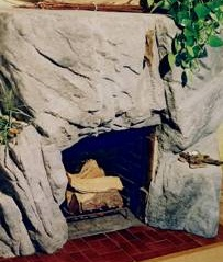 artificial rock fireplace